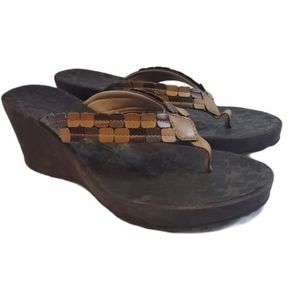 Clarks brown wedges size 9